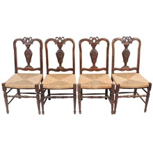Louis XVI-Style Walnut Chairs, S/4