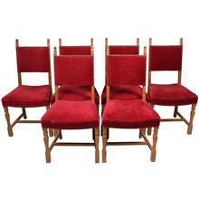 Bavarian-Style Oak Dining Chairs, S/6