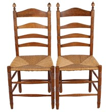 French Ladder-Back Rush Seat Chairs S/2