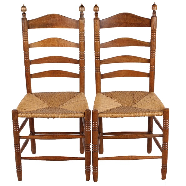French Ladder Back Rush Seat Chairs S 2 Vintique