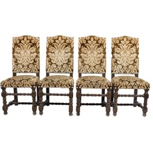 English Damask Dining Chairs, S/4