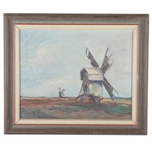 1946 Oil Painting 'Windmills'