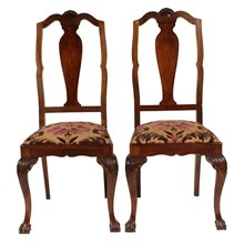 1940s Chippendale-Style Chairs, Pair