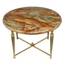 French Onyx & Brass Cocktail Table