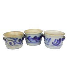 German Salt Glaze Butter Crocks, S/3