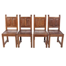 1920s Elizabethan-Sty Paneled Chairs S/4