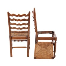 English Wavy Ladder Back Chairs