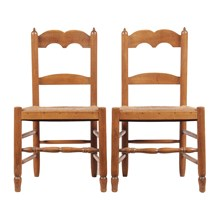 Petite French Rush Chairs, Pair