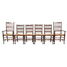 Antique Elizabethan-Style Chairs, S/6
