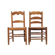 Antique French Ladder Back Chairs, Pair