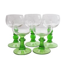 German Green Stem Goblets, S/5