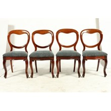1850s English Victorian Balloon Back Chairs, S/4