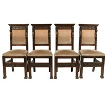 1890s Baronial Italian Renaissance-Style Chairs, S/4