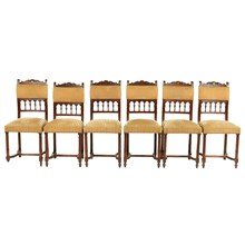 1870s French Henry II-Style Chairs, S/6