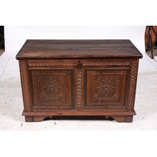 Ornately Carved Mid 19th-C. Scandinavian Trunk
