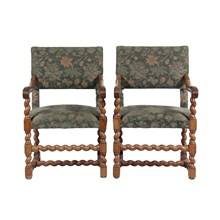 Vintage English Oak Barley Twist Armchairs, S/2