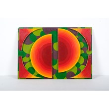 Colorful Wood Sculpture on Board by Suppe