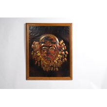Metal Tribal Mask Framed Wall Hanging