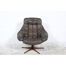 Mid-Century Brown Leather Swivel Glove Chair