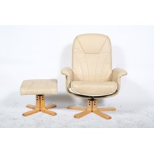Bently Collection Mid-Century Cream Leather Swivel Chair and Stool