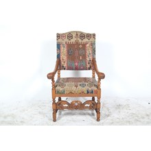 1920s Baroque Oak Arm Chair Featuring Southwestern Kilim Upholstery