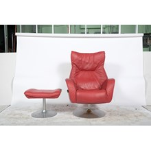 Kebe Modern Red Swivel Chair and Stool
