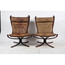 Pair of Mid-Century Leather Suspended Arm Chairs