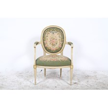 French Louis XVI Style Needle Point Accent Chair