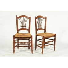 19th-C. French Harp Back Rush Chair (1)