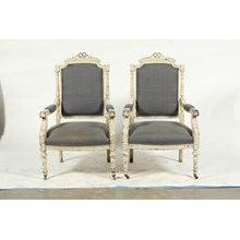 Late 19th-C. French Louis XVI-Style Armchairs, Pair