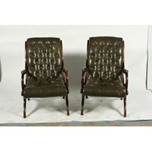 C.1900 Tufted Green Leather English Slipper Chairs, Pair