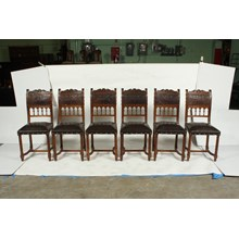 Late 19th-C. French Henry II-Style Chairs, S/6