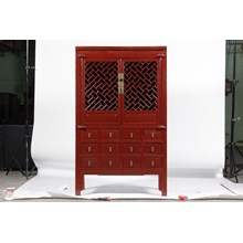 19th-C. Ming Style Chinese Lattice Cabinet