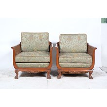 Pair of Chippendale Cane Armchairs with Chinoiserie Upholstery