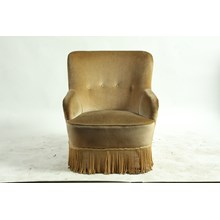 Early 20th-C. French Velvet Upholstered Barrel Back Slipper Chair
