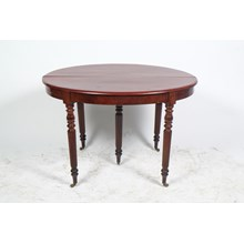 Antique French Louis Philippe Small Round Mahogany Dining Table Featuring Reeded Legs
