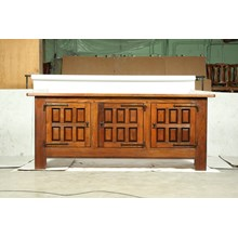 Mid-Century Mediterranean, Spanish Mission Style Oak Buffet/Console With Cast Iron Studs and Hardware