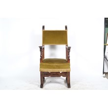 Late 19th-Century Baroque Throne Chair with Green Velvet Upholstery