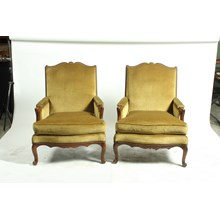 Pair of French Louis XV-Style Velvet Armchairs, Ca 1950s
