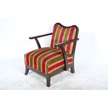 Early 20th-Century Art Deco Striped Velvet Slipper Chair