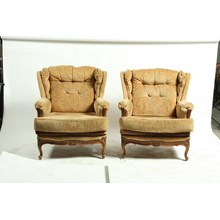 Pair of French Mid-Century Louis XV Style Brown Velvet Bergeres