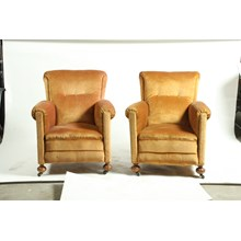 Pair of French Art Deco Velvet Club Chairs, Ca 1930