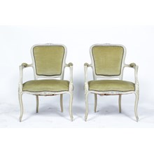 1960s Pair of Painted Louis XVI Armchairs S/2