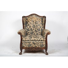 Late 19th-C. French Bergere with Floral Upholstery