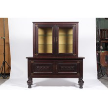 1940s Art Deco Ebony Stained Oak Vitrine/China Cabinet With Oriental Hardware