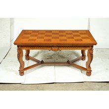 Mid-Century French Baroque Oak Parquet Top Dining Table With Rosette Detail