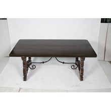 Antique French Baroque Trestle Dining Table Featuring a Walnut Slab Top