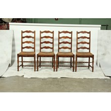 C.1930 Art Deco French Farmhouse Ladder Back Dining Chairs With Rush Seats