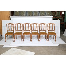 Set of 6 Louis XV Dining Chairs with Gold Upholstery