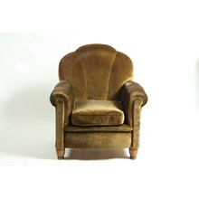 1930's French Art Deco Club Chair With Brown Velvet Upholstery